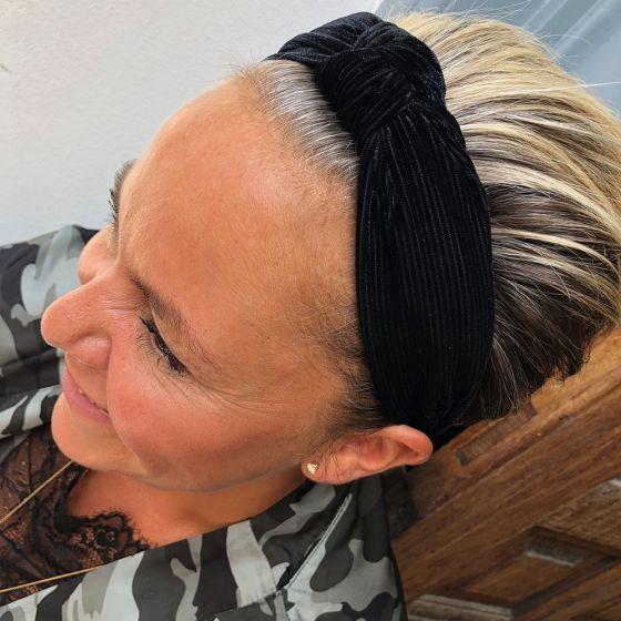 Headband Velvet Stripe Black fra Black Colour