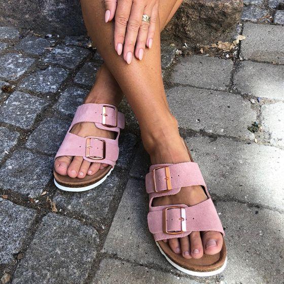Julia Leather Sandal Ash Rose fra Vero Moda